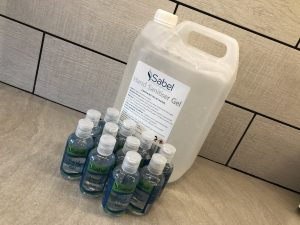Sabel Cosmetics 5 litre and 75ml hand sanitiser